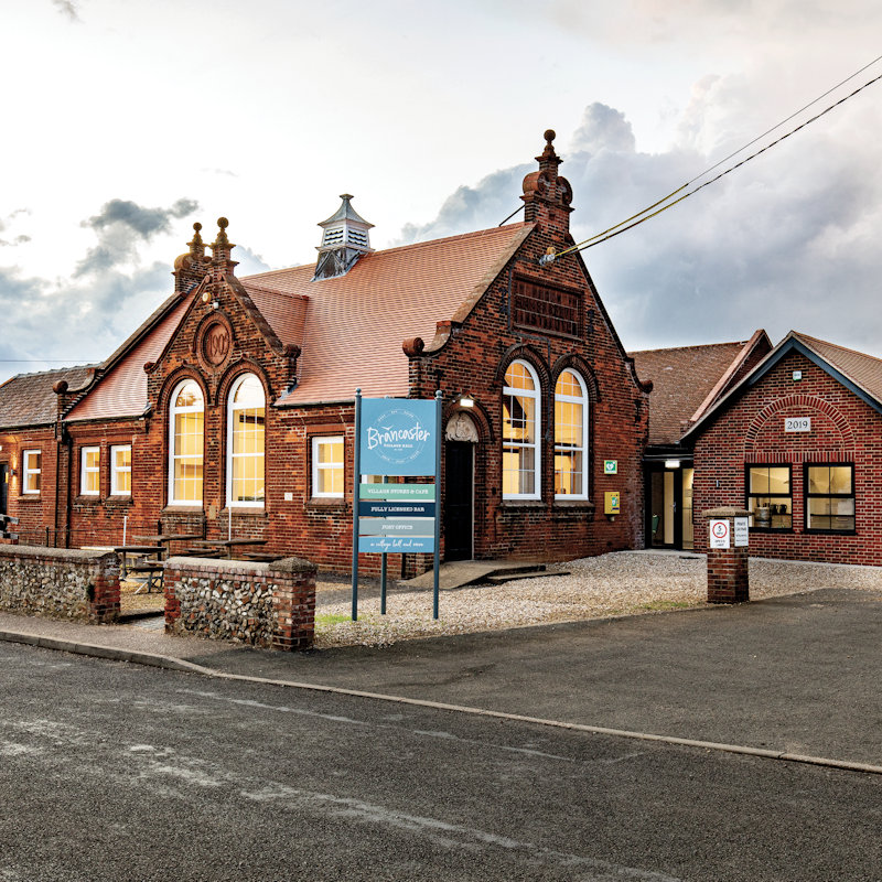 Brancaster Village Hall - The newly relaunched Brancaster Village Hall welcomes all to our modern social hub at the heart of the community. Hall for hire for social and business events, a fully licensed bar, meeting room, post office and stores. Sports court and playing fields.