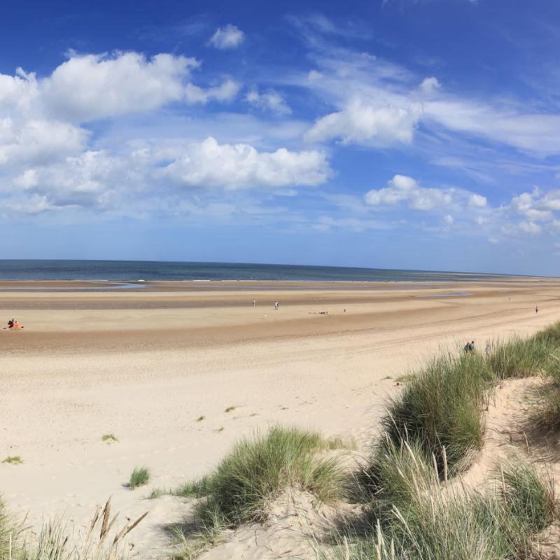 Holkham Beach - The beach at Holkham is one of the most unspoilt and beautiful stretches of sand in the country. The actress Gwyneth Paltrow walked across Holkham sand at low tide during the closing scenes of the film 'Shakespeare in Love'.